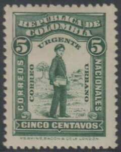 COLOMBIA 1917 SPECIAL DELIVERY Sc E1 KEY VALUE HINGED MINT F,VF SCV$60.00+