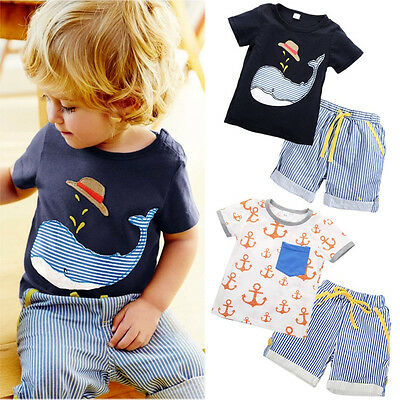 Baby Kids Boys Cute Tops T-shirt Striped Shorts Summer Outfits Clothes 1-7 Years