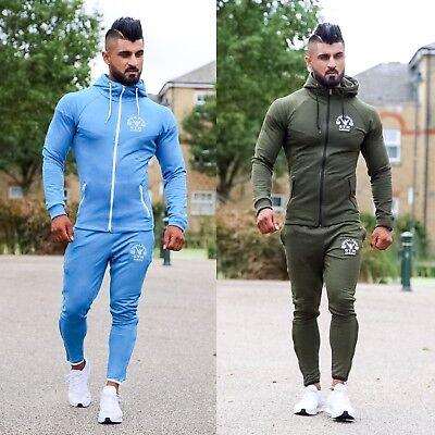 Mens Muscle Works Gym Designer Tracksuit Slim Fit Polyester Full Suit Fitness