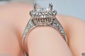 Antique-Art-Deco-Vintage-Mounting-Setting-Hold-8MM-18K-White-Gold-Ring-Size-6-75