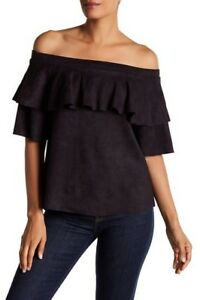 NWT-165-David-Lerner-Off-the-Shoulder-Black-Micro-Suede-Ruffle-Top-size-Medium