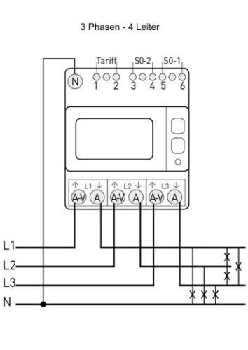 Drehstromzähler  1+2 Tarif Drehstrom-Energiezähler MID geeicht 80 A