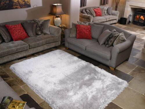 SALE Extra Thick Pearl Silver Grey Shaggy Rug in various sizes