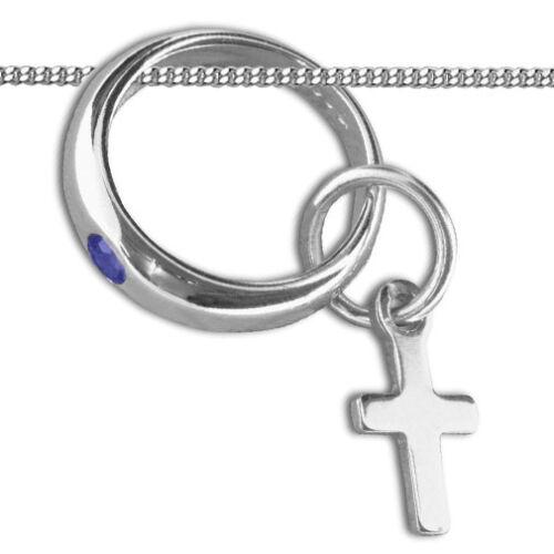 Jungen Baby Taufe Taufring Safir blau Kreuz Anhänger Echt Gold 333 Weißgold