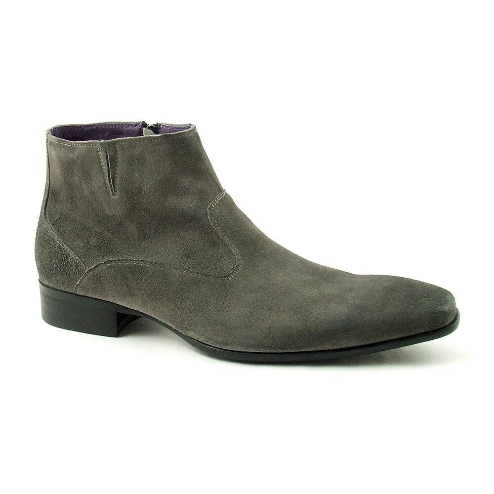 Gucinari Italian Mens Formal SMART Suede Leather Chelsea Boot Grey 9