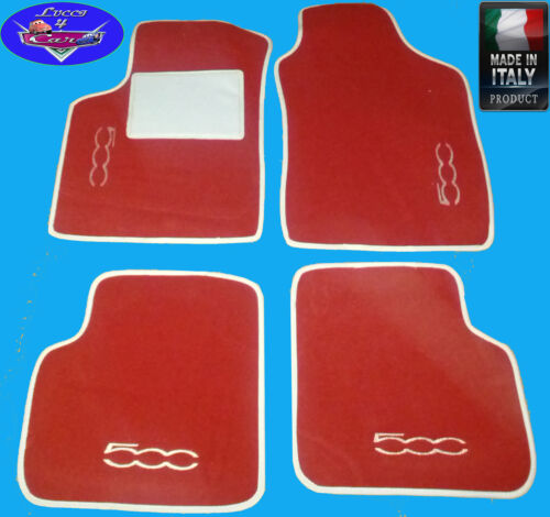TAPPETINI tappeti Nuova FIAT 500 su misura rosso con ricami