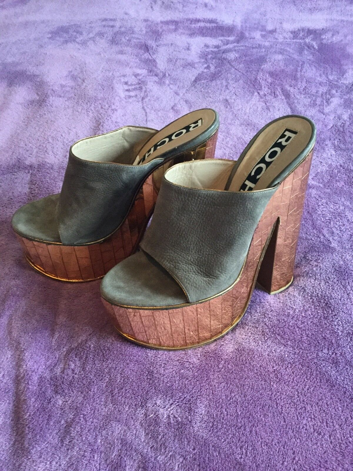 Waw show stopper ROCHAS Designer mirroROT heel mule  sandles Uk 6