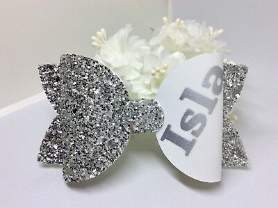 Girls Speckled Personalised  Glitter Fabric Hair Bow Clip School Hair Bow