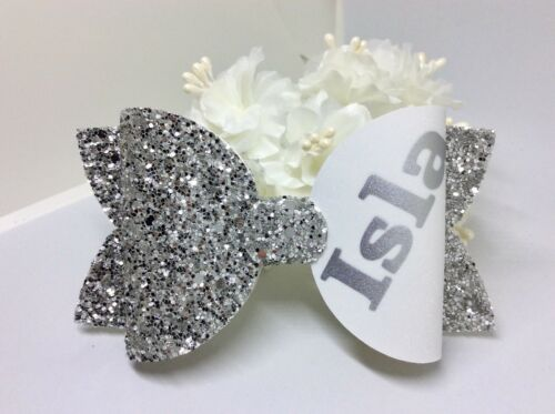 School Hair Bow Girls Silver Personalised  Glitter Fabric Hair Bow Clip