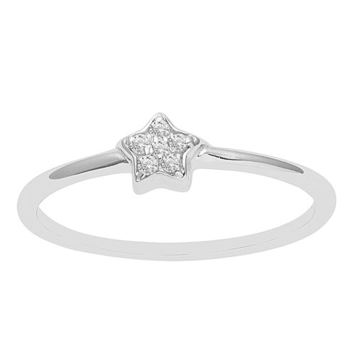 925 Silver Stackable Cubic Zirconia Five Stone Star Engagement Tiny Midi Ring CZ