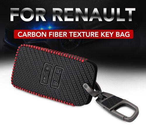 Black Car Leather Key Holder Remote Cover Case For Renault Kadjar 2018 Keychain