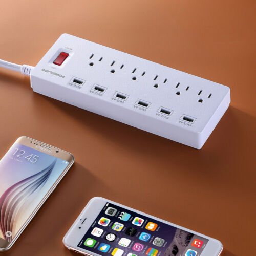 Poweradd 6FT 6 USB Charging Ports 6 Outlets Surge Protector Power Strip Sockets