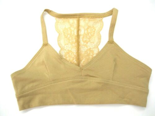 Maiden Form Girl  Puberty Bra Size Large NWT Tan Racer Back Lace Cotton  KD67