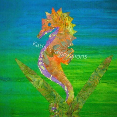 Coastal SEAHORSE Hawaiian Fabric Quilt Square Tropical Neon Beach Ocean Block