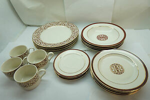 Image is loading AMERICAN-ATELIER-CHINA-FLORENTINE-SCROLL-BURGUNDY-PATTERN -5008- & AMERICAN ATELIER CHINA FLORENTINE SCROLL BURGUNDY PATTERN 5008 19 PC ...