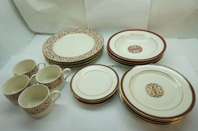 AMERICAN ATELIER CHINA FLORENTINE SCROLL BURGUNDY PATTERN 5008 19 PC SET PLATES & American Atelier China Florentine Scroll Burgundy Pattern 5008 19 PC ...