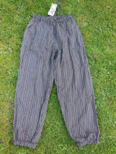 Harem Pantaloni Cotone A righe Leggera Lagenlook etnico hippy Arty XL