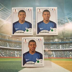 Lot 3 X Panini 2018 World Cup Russia #209 -Kylian MBAPPE  RC Rookie France PSG