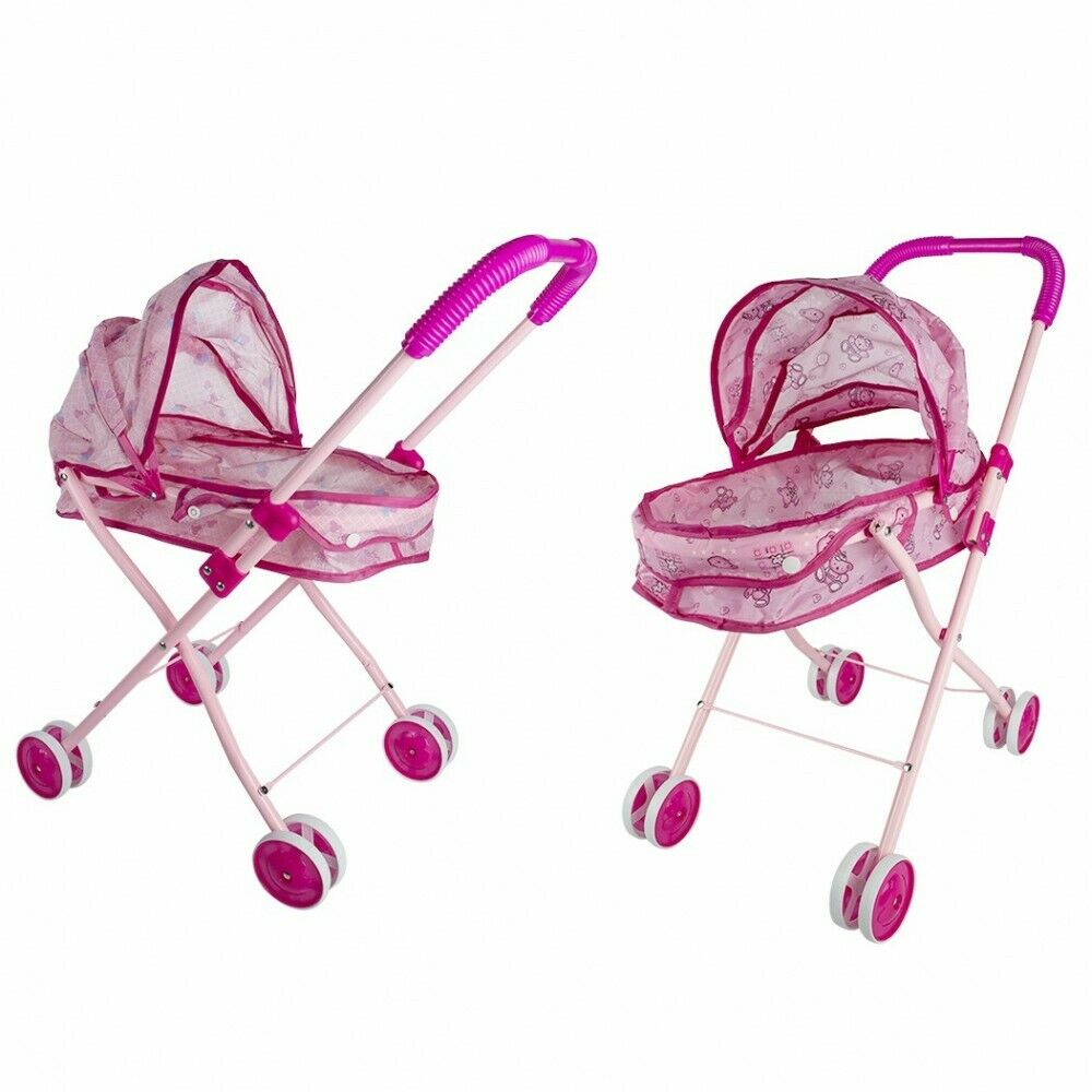 101246 Cochecito de juguete para muñecas plegable rosa con toldo