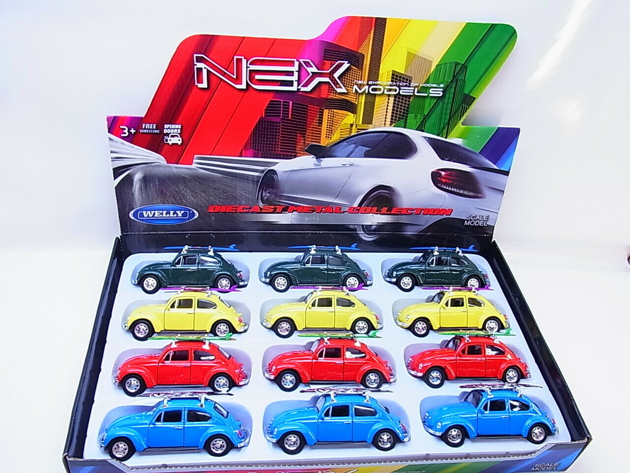 il più recente 58024 Welly 12 pezzi VW BEETLE Hardtop Hardtop Hardtop con Surftavola modellololo di auto 1 40 NUOVO  varie dimensioni
