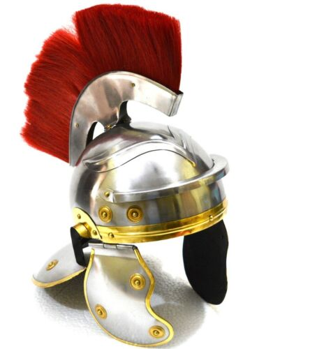 Details about  /Medieval ROMAN Helmet With Red Plume Silver Finish Greek Armor With Wooden Stand