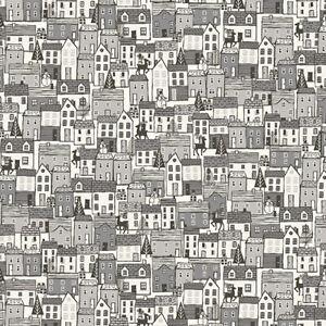 Scandinavian-2020-Town-Houses-Makower-UK-Cotton-Quilt-Fabric-TP-2219-S-Gray