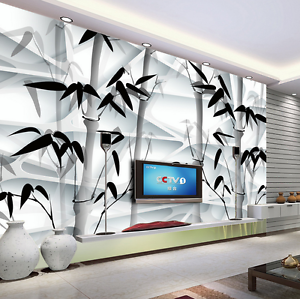 3D Bamboo Leaves Ink 695 Wall Paper Wall Print Decal Wall AJ WALLPAPER CA
