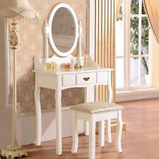 White Vanity Drawer & Mirror Dressing Table Jewelry Makeup Set Wood Desk w/Stool