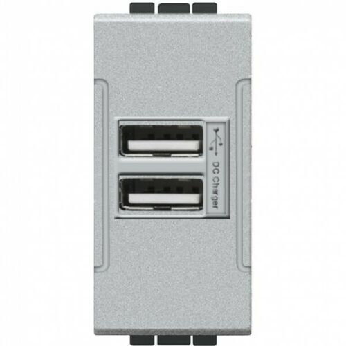 PRESA-USB-GRIGIO-BTICINO-LIVING-INTERNATIONAL-COMPATIBILE-VIDOELETTRONICA