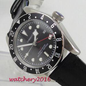 41mm-CORGUET-Black-dial-GMT-SS-Date-Sapphire-Glass-automatic-movement-mens-Watch