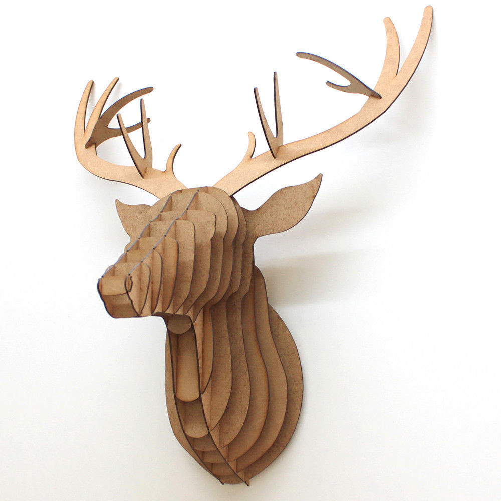 3D 3D 3D Stag   Unicorn Head - Contemporary Wooden MDF Wall Art Puzzle Display Bedroom 586c03