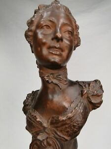 EMILE-GUILLEMIN-SUPERBE-BUSTE-JEUNE-FEMME-TERRE-CUITE-FIN-XIXe-1900-ART-NOUVEAU