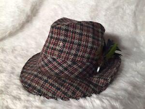 Image is loading Vintage-Fedora-United-Hatters-Millinery-Wool-Plaid -Gentlemans- ad5cf0746c1c