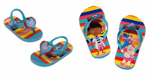 Disney Store Doc McStuffins Lambie Stuffy Flip Flops Sandals Metallic Hearts NEW