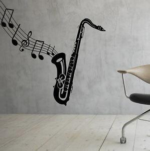 Music Wall Decal Saxophone Vinyl Sticker Music Notes Interior Art Decor 25mu Ebay
