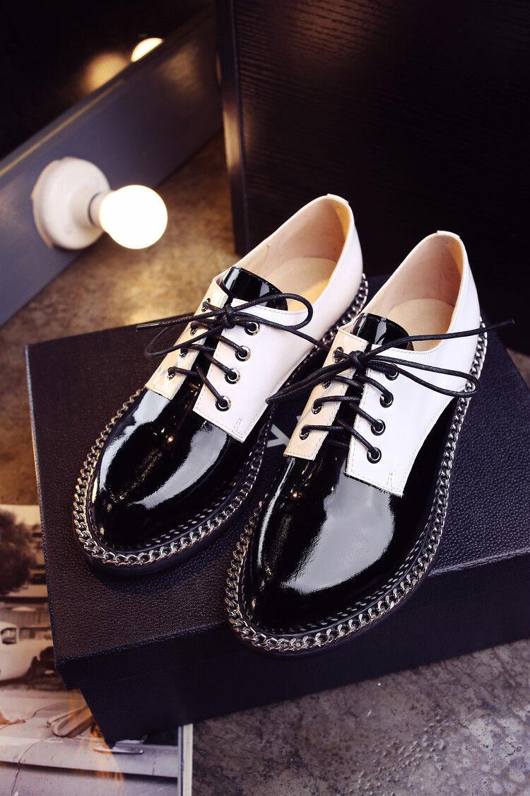 Mujeres Retro Con Con Retro Cordones Oxford College Estilo Informal Flat Moda Zapatos Talla 8 6435d6