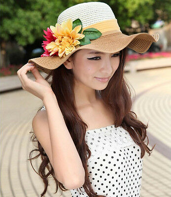 Korean  women Simulation flowers summer beach hat sun hat 603-4 light coffee