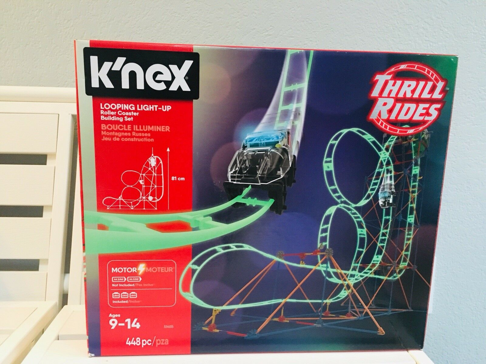 K'nex Thrill Rides Looping Looping Looping Light-up Roller Coaster Building Set 448pc  FShip 628ff6