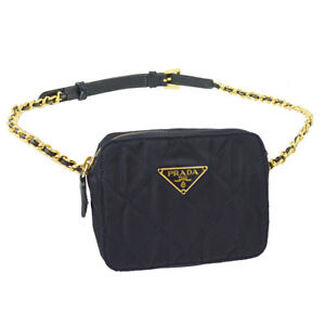 6d9d1fddc4f4 Auth PRADA Quilted Chain Bum Bag Waist Pouch Navy Nylon Italy ...