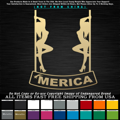 /'Merica Two Strippers on Pole over banner Sticker Decal