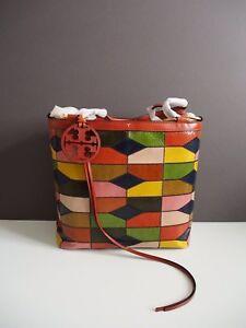 07147d261cc4 Image is loading Tory-Burch-Farrah-Snake-Patchwork-Shoulder-Handbag-Tote