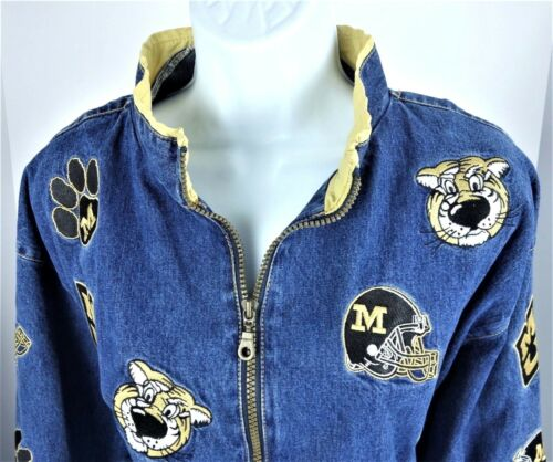 Full Zip Tigers Jacket Mizzou Mu Womens Denim Coat Xl Midweight Yn0Eq4
