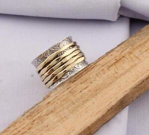 Solid-925-Sterling-Silver-Spinner-Ring-Meditation-Ring-Statement-Ring-Size-M479