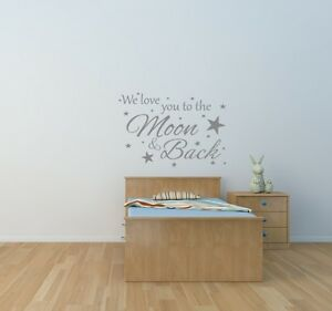 we love you to the moon back wall art sticker nursery children s