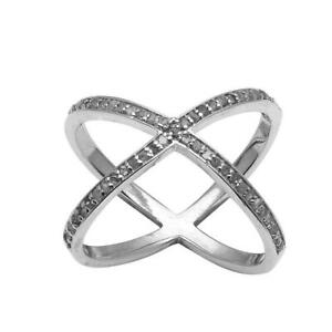 0.60 Ct Single Cut Champagne Diamond X-Shape 925 Sterling Silver Stacking Ring