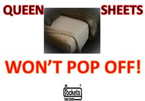 Deep Pocket Sheets Split Head Adjustable Gold Won/'t Pop Off Queen Flex Top