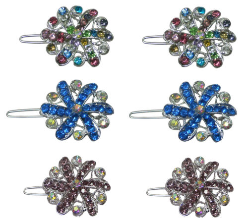 Small Medallion Barrettes 2 ea of 3 Colors  U1719-3prsRGcAB Set of 6 3 Pairs