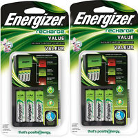 2 Pack Energizer Value Charger With Aa Rechargeable Nimh Batteries Chvcmwb-4 on sale