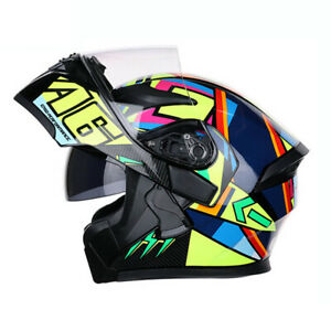 DOT-Flip-Up-Motorcycle-Helmet-Full-Face-Modular-Helmet-Dual-Visor-Motocross-Race