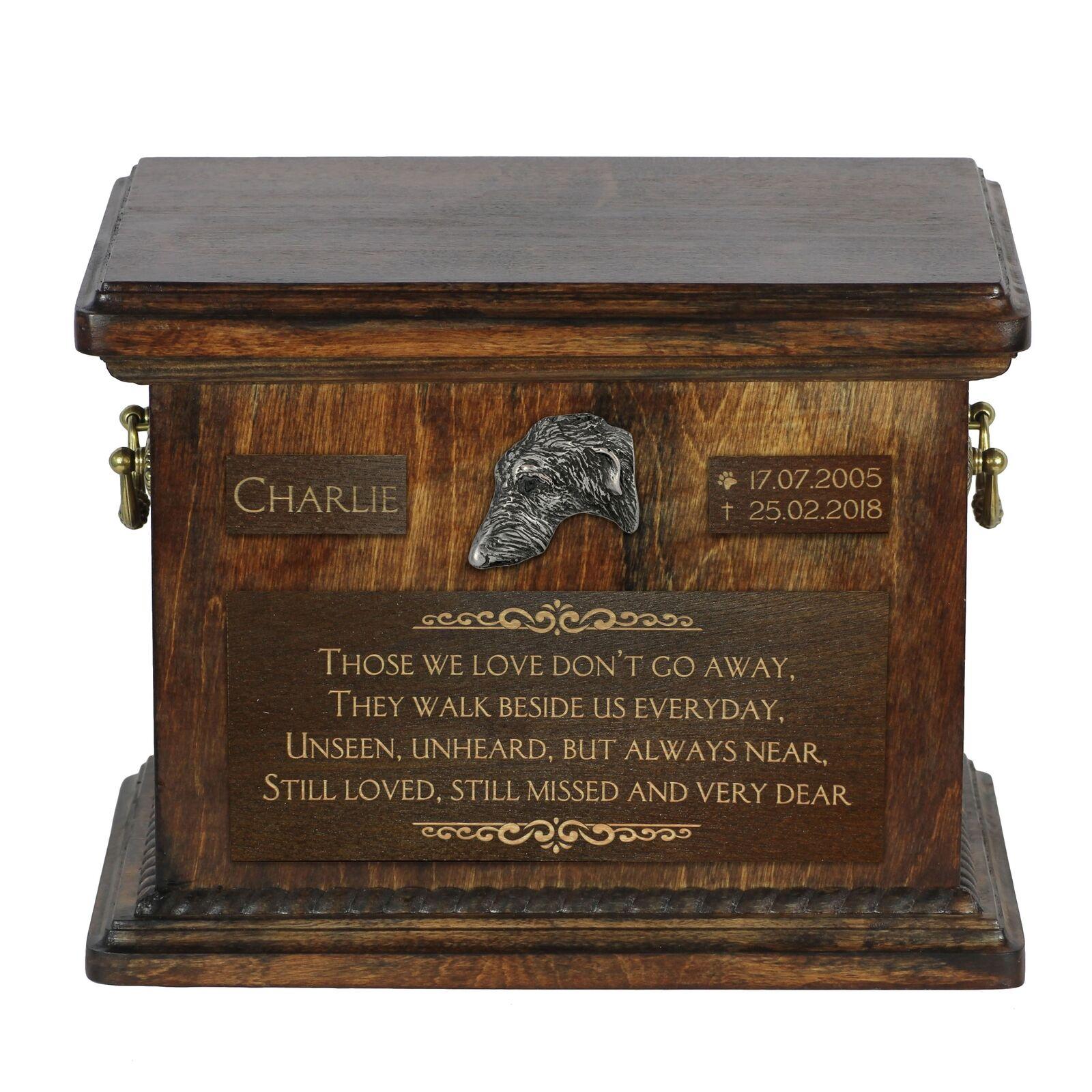 Scottish deerhound  Urn for dog's ashes with image of a dog, Art Dog